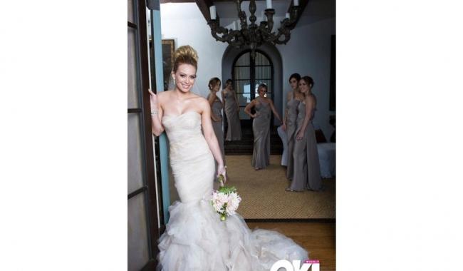 Miniona actriță Hilary Duff a preferat o rochie de mireasă tip sirenă