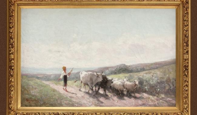 """""""Țărăncuță cu fuior pe cale"""", de Nicolae Grigorescu, adjudecată pentru 220.000 de euro"""